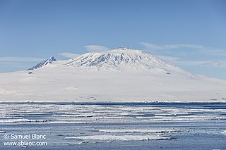 Mount Erebus volcano on Ross Island, Antarctica