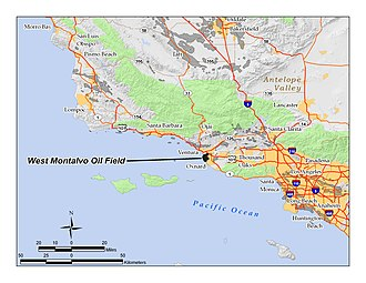 West Montalvo Oil Field - The West Montalvo Oil Field in Ventura County, California. Other oil fields are shown in dark gray.