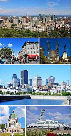 From top, left to right: Downtown Montreal skyline, Old Montreal, Notre-Dame Basilica, Old Port of Montreal, Saint Joseph's Oratory, Olympic Stadium