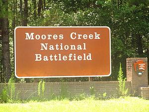 Moores Creek National Battlefield - Image: Moores Creek Battlefield sign IMG 4459