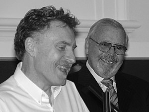 Doug Moran National Portrait Prize - Peter Wegner (left) accepting the Prize in 2006. Right: Doug Moran