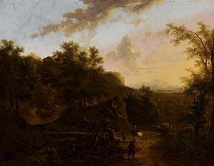 Italian landscape with a falconer.