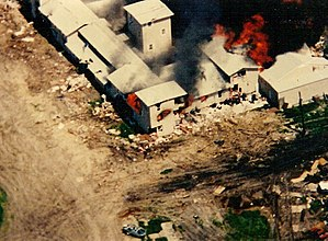 Waco siege - The Mount Carmel Center engulfed in flames on April 19, 1993