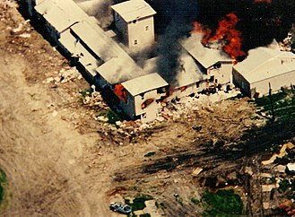 David Koresh - FBI photo of the Mount Carmel Center engulfed in flames on April 19, 1993