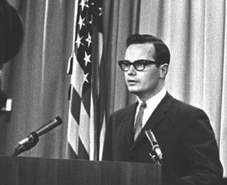 Bill Moyers - Moyers giving a press conference at the White House in 1965