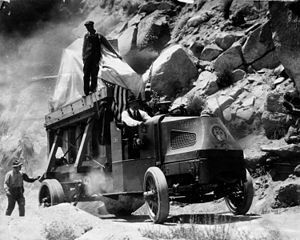 Mack Trucks - The Hale 100-inch mirror for Mount Wilson Observatory on its way up the Mount Wilson Toll Road on a Mack truck in 1917.