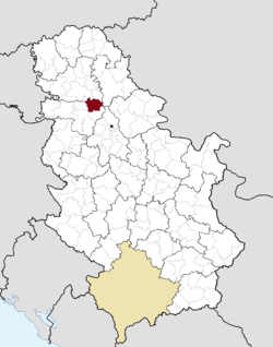 Location of the municipality of Inđija within Serbia