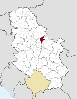 Location of the municipality of Požarevac within Serbia