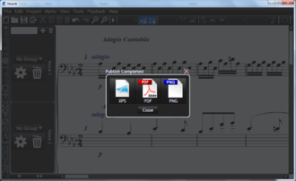 Musink - Publishing allows users to export music as a PDF, XPS document, or series of PNG files