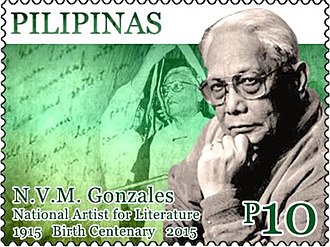 N. V. M. Gonzalez - Gonzalez on a 2015 stamp of the Philippines