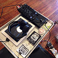 NI Traktor Kontrol Z1, DJ software on iPad, headphone, and flyers - not the worst #DJ booth #traktor trash #MP3death future #gear pack #tight (2013-07-12 by j bizzie).jpg