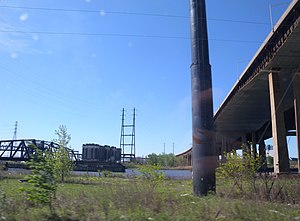 Point-No-Point Bridge - The bridge (at left) crosses the Passaic between the Kearny Meadows and the industrial area of the Newark Ironbound parallel to the New Jersey Turnpike