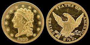 """Quarter eagle - 1835 """"Classic Head"""" quarter eagle"""