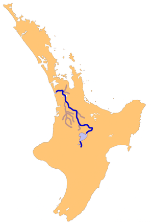 Location map of Waikato River, North Island, N...