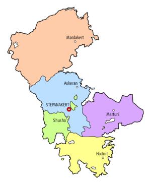 Nagorno-Karabakh Autonomous Oblast - Principal cities in the Nagorno-Karabakh Autonomous Oblast (NKAO).