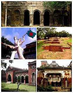 Clockwise from top: Balihar Royal Palace, Jogoddol Bihar, Dubalhati Royal Palace, Gaza Society Office, Shadhinota Monument