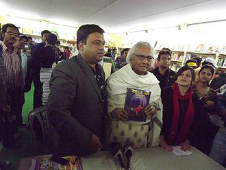 Narayan Debnath - Releasing his own book at the Kolkata International Book Fair 2014