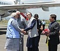 Narendra Modi being received by the Chief Minister of Jammu and Kashmir, Shri Omar Abdullah, on his arrival at Srinagar airport, in Jammu and Kashmir. The Governor of Jammu and Kashmir, Shri N.N. Vohra is also seen.jpg