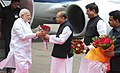 Narendra Modi being received by the Governor of Maharashtra, Shri K. Sankaranarayanan, on his arrival, at Mumbai Airport on July 21, 2014. The Chief Minister of Maharashtra, Shri Prithviraj Chavan is also seen.jpg