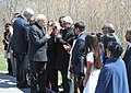 Narendra Modi meets the victims' families at the Wreath Laying Ceremony, at the Air India Memorial Site, in Toronto Canada on April 16, 2015. The Prime Minister of Canada, Mr. Stephen Harper is also seen.jpg