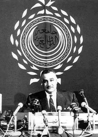 1965 Arab League summit - Egyptian President Gamal Abdel Nasser addressing the summit