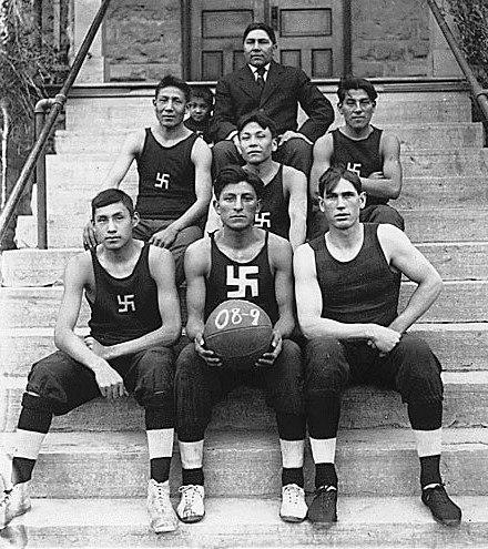 Native American basketball team crop