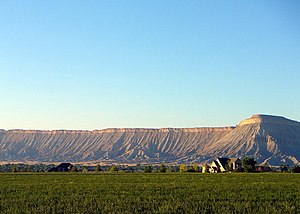 Book Cliffs - Book Cliffs and Mt. Garfield (on right, approximate altitude 6,600') in Mesa County, Colorado