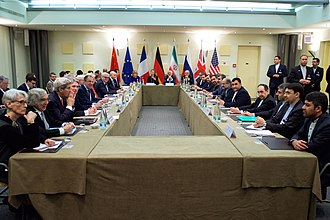 Negotiation - The ministers of foreign affairs of the United States, the United Kingdom, Russia, Germany, France, China, the European Union and Iran negotiating in Lausanne for a Comprehensive agreement on the Iranian nuclear programme (30 March 2015).