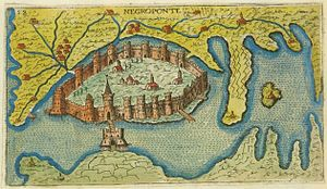 Triarchy of Negroponte - Depiction of the city of Negroponte (Chalkis) by the Venetian cartographer Giacomo Franco (1597)