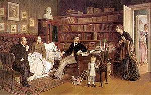 Nikolay Nekrasov - Nekrasov and Panayev visiting sick Belinsky. By A.Naumov