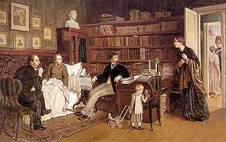 Nikolay Nekrasov - Nekrasov and Panayev visiting sick Belinsky. By A.Naumov