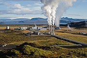 The Nesjavellir Geothermal Power Plant services the Greater Reykjavík Area's hot water needs.