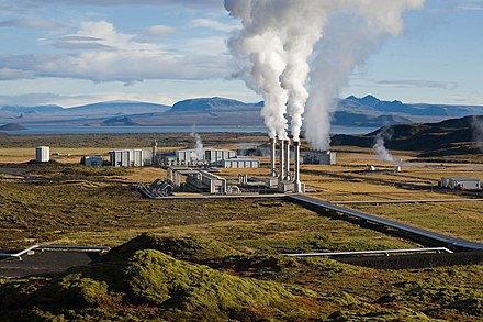 The Nesjavellir Geothermal Power Station services the Capital Region's hot water and electricity needs. Virtually all of Iceland's electricity comes from renewable resources.[128] - Iceland