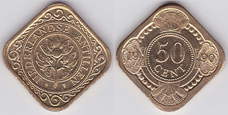 Coinage shapes - 50 cent coin from the Netherlands Antilles.