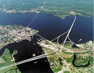 Neuse River - A bridge over the Neuse River at New Bern, where the Trent River (bottom) joins it