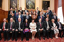 Clare Curran in a large group shot of the new members of the Coalition Government in 2017