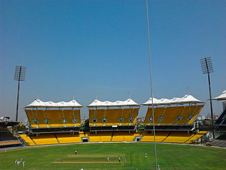2011 Cricket World Cup - Image: New stands with fabric tensile rooves at the M. A. Chidambaram Stadium