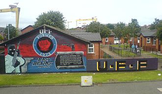 A20 road (Northern Ireland) - Image: Newtownards Road UFF mural at 54.599641, 5.903403