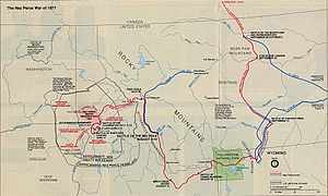 Nez Perce War - Map showing the flight of the Nez Perce and key battle sites