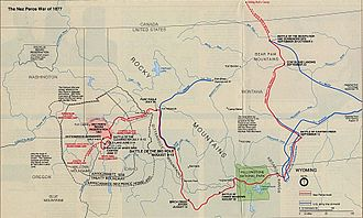 Nez Perce War - Map showing the flight of the Nez Perce and key battle sites
