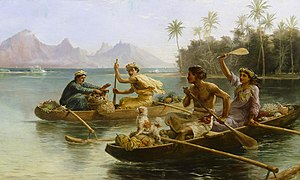 Nicholas Chevalier, Race to the market, Tahiti, 1880, oil on canvas.jpg