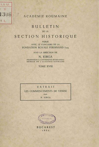 Nicolae Iorga - Les commencements de Venise