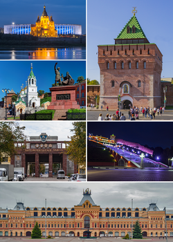 Clockwise: Dmitrievskaya Tower of the Kremlin, Chkalov Stairs, the Fair, GAZ, Minin and Pozharsky Monument, Saint Alexander Nevsky cathedral and stadium.