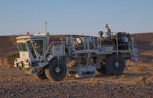 Seismic vibrator - World largest seismic vibrator Nomad 90 during a vibration