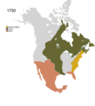 Non-Native American Nations Control over N America 1700.png
