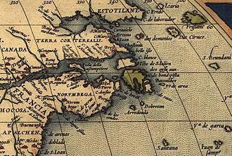 "Norumbega - Part of Abraham Ortelius' atlas from 1570, showing ""Norvmbega"" among other somewhat mythical names for various areas as well as several phantom islands."
