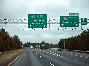 Interstate 295 (Virginia) - I-295 as it begins at northbound I-95 south of Petersburg, Virginia.
