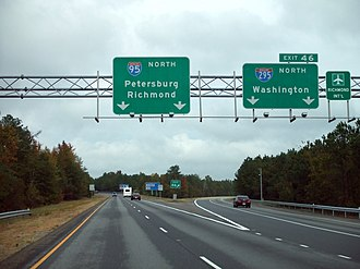 Interstate 295 (Virginia) - I-295 as it begins at northbound I-95 south of Petersburg
