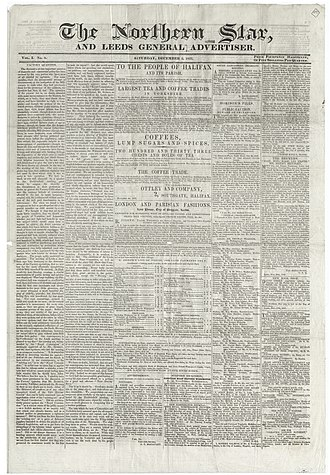Northern Star (Chartist newspaper) - Front page of The Northern Star and Leeds General Advertiser, 1837