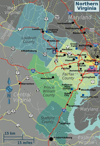 Map Of Northern Va Northern Virginia – Travel guide at Wikivoyage